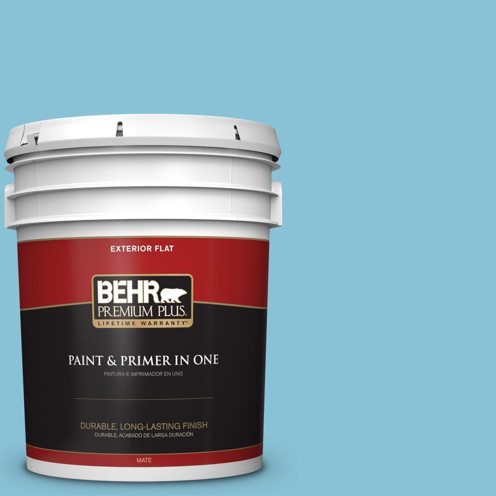 BEHR Premium Plus 5-gal. #540D-4 Dreaming Blue Flat Exterior Paint