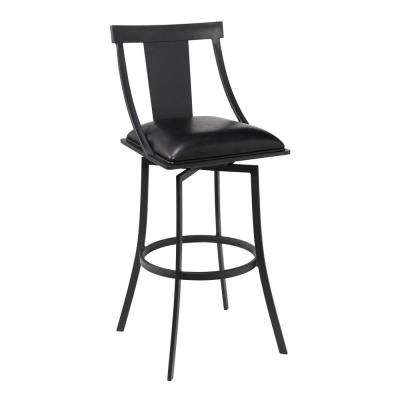 Brisbane Contemporary 30 in. Matte Black and Black Faux Leather Bar Height Bar Stool