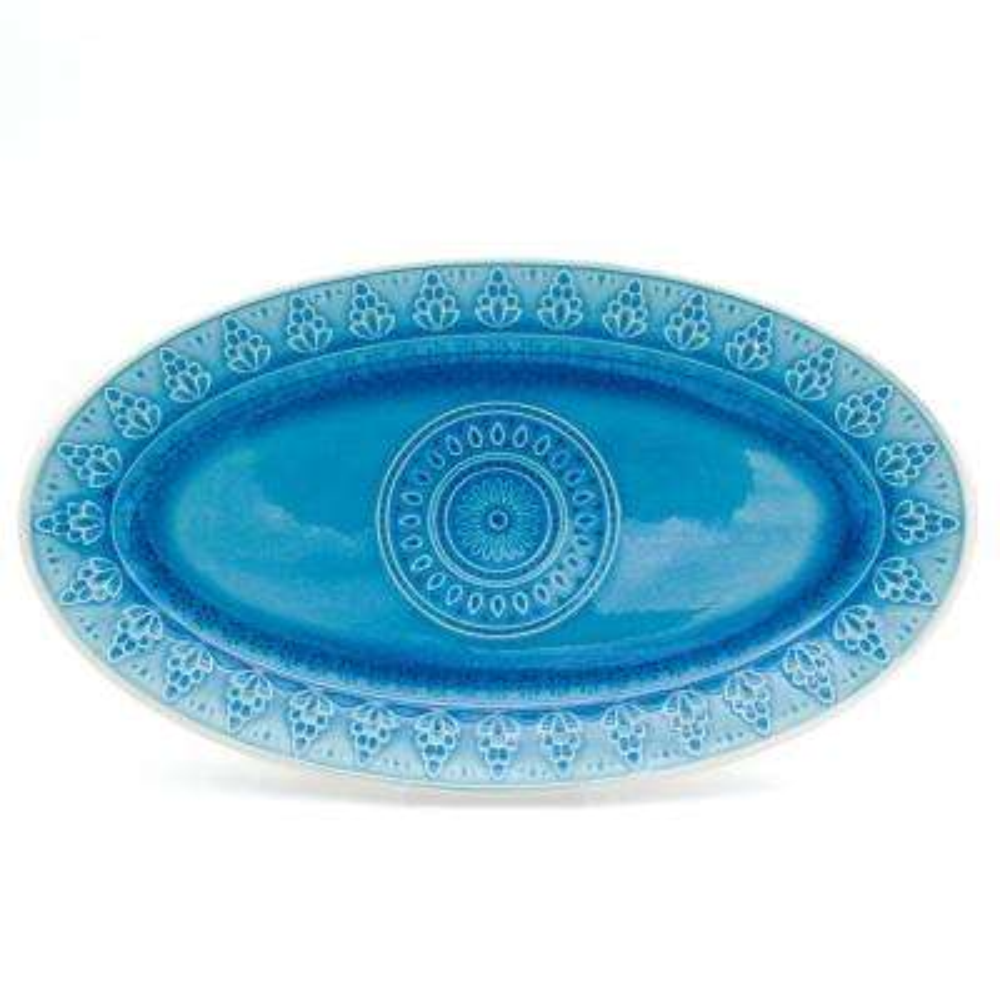 Fez Turquoise Crackle-Glaze Oval Platter