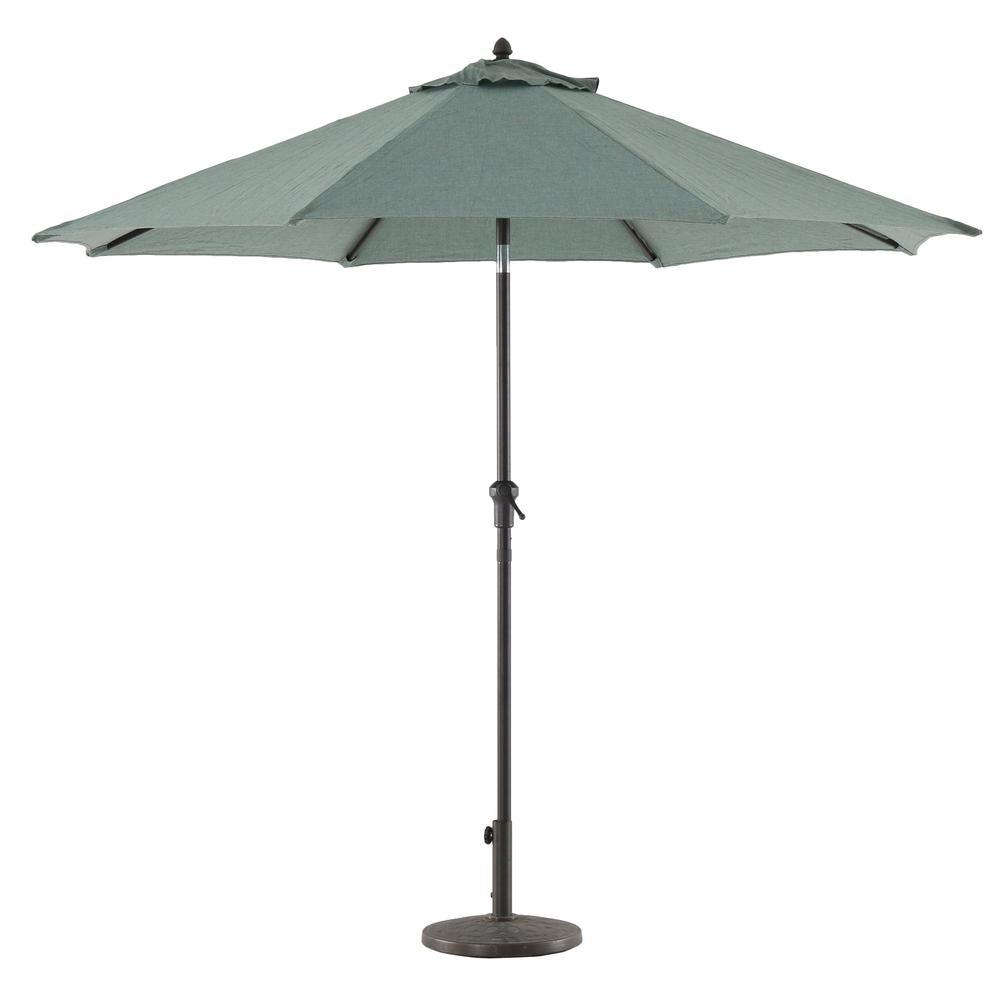 9 ft. Aluminum Market Crank and Tilt Patio Umbrella in Teal