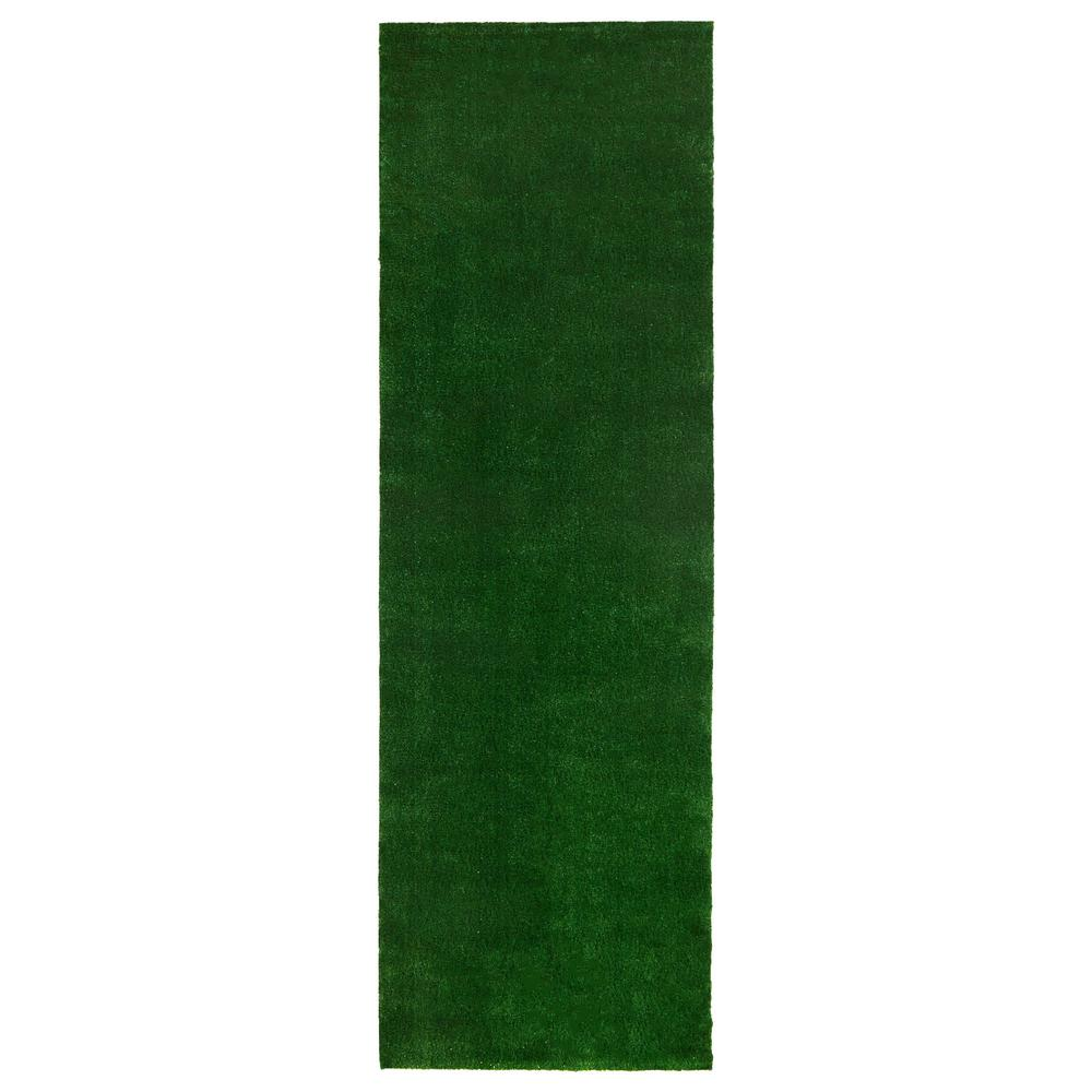 Ottomanson Evergreen Collection Green 3 ft. x 7 ft. 3 in. Solid Runner Rug