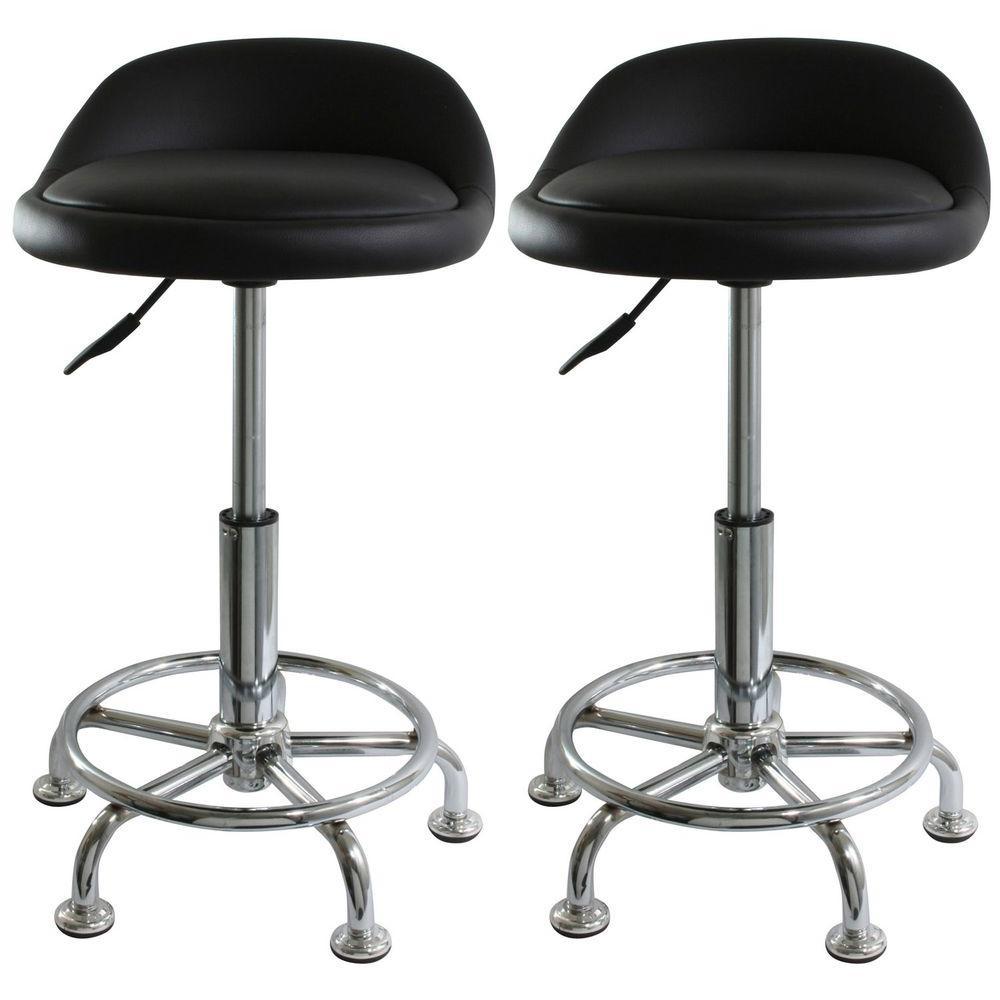 AmeriHome Black Padded Adjustable Bar Stool/Shop Stool (Set of 2)-DISCONTINUED