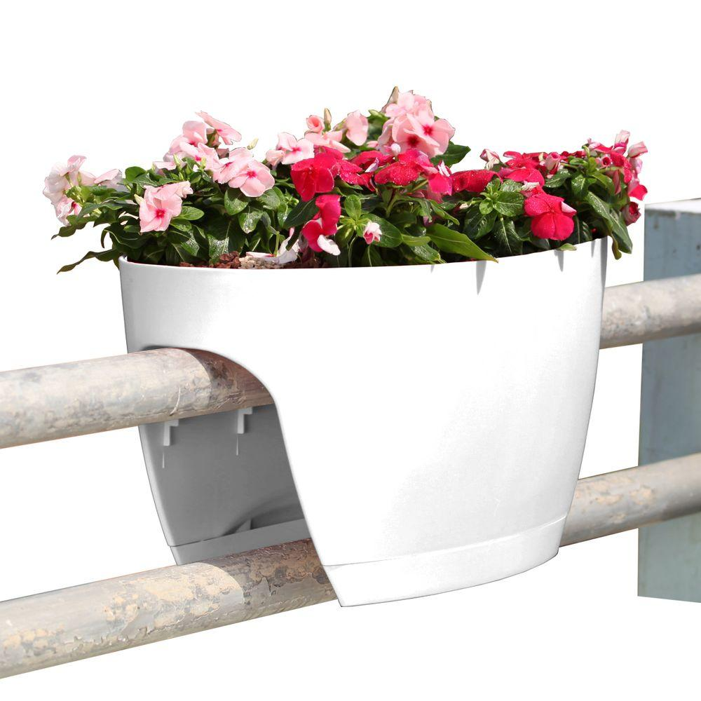 Greenbo Xl Deck Rail Planter Box With Drainage Trays 24 In Color White
