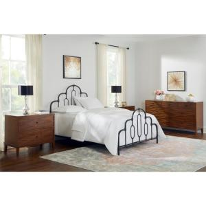 Home Decorators Collection-Delacroix Black Metal Queen Bed with Gold Detail (61.25 in W. X 55.13 in H.)