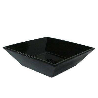Square Vitreous China Vessel Sink in Black