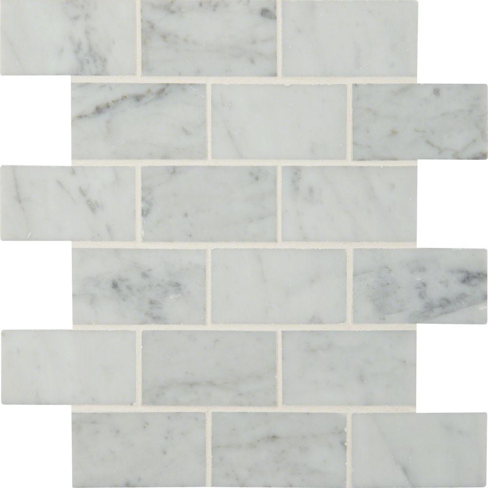 Msi Carrara White 12 In X 10 Mm Polished Marble Mesh Mounted Mosaic Floor And Wall Tile Sq Ft Case