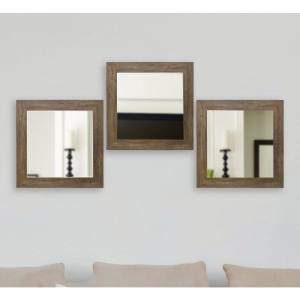 Click here to buy  21.5 inch x 21.5 Brown Barnwood Vanity Square Vanity Wall Mirrors (Set of 3).
