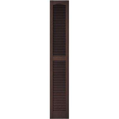 12 in. x 72 in. Louvered Vinyl Exterior Shutters Pair in #009 Federal Brown