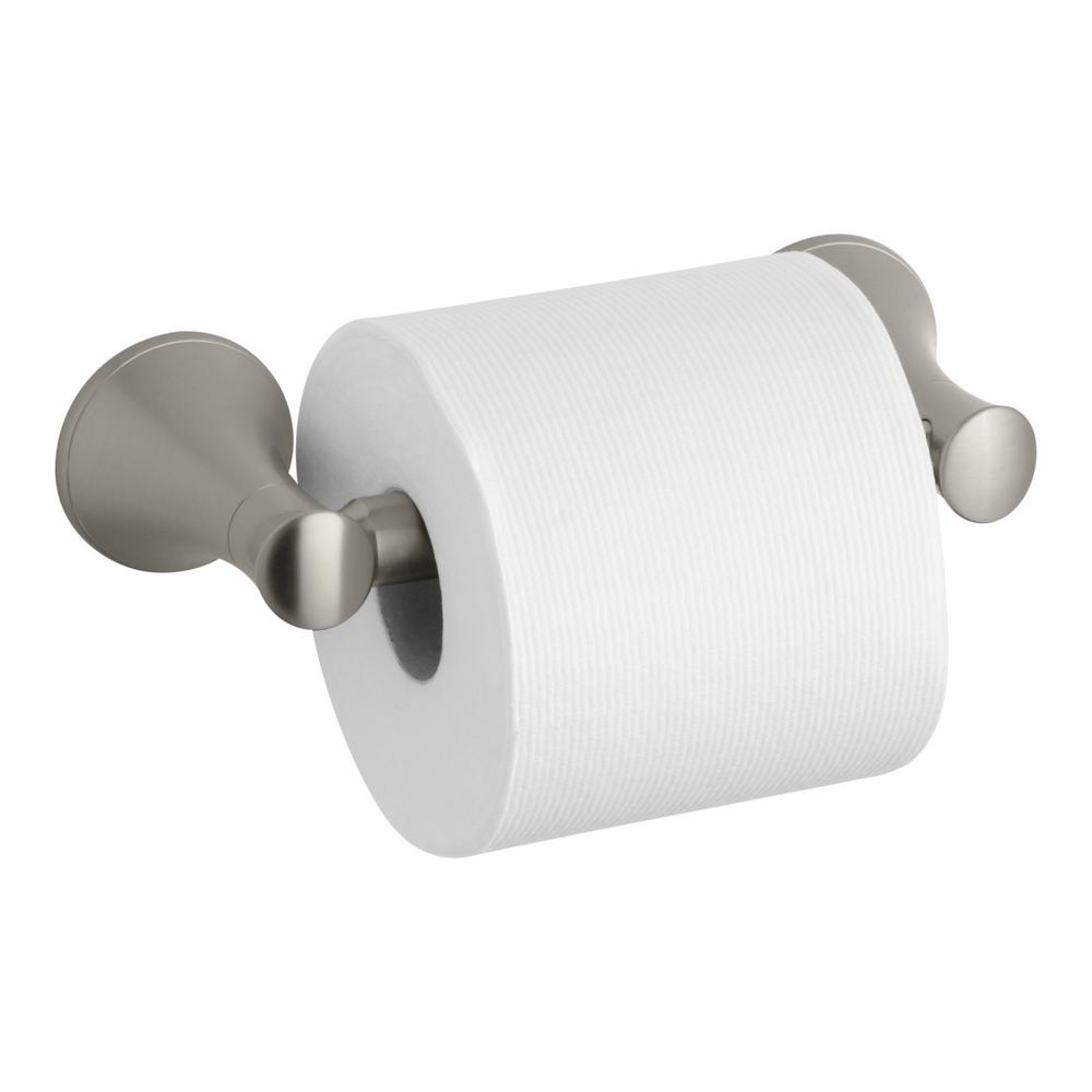 Coralais Double Post Toilet Paper Holder in Vibrant Brushed Nickel
