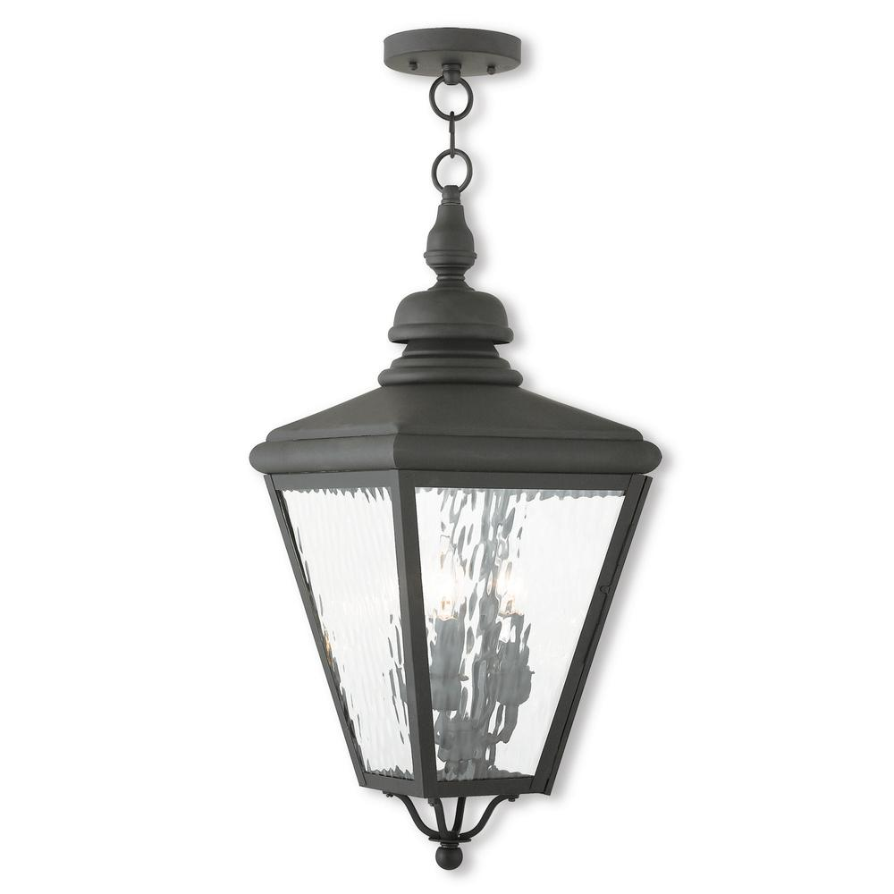 Livex Lighting Cambridge Black 3 Light Outdoor Hanging Lantern