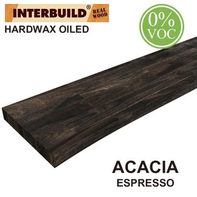 Acacia 4 ft. L x 10 in. D x 1.5 in. T Butcher Block Countertop Floating Wall Shelf in Espresso Stain with Live Edge
