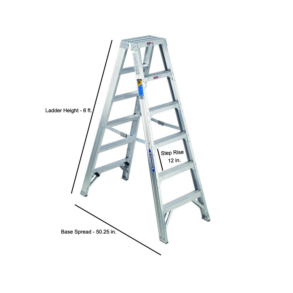 Werner 6 Ft Aluminum Twin Step Ladder With 375 Lb Load Capacity Type Iaa Duty Rating T406 The Home Depot