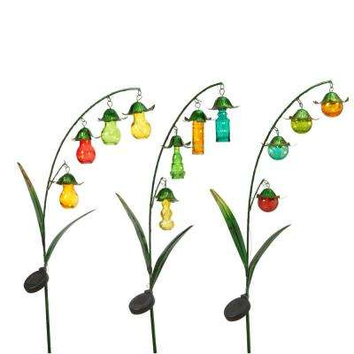 48 in. Tall Solar-Powered Green Metal Flower Yard Stakes with Colored Glass Buds (3-Set)