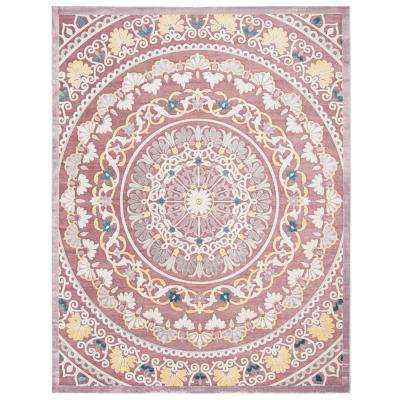 Paradise Purple/Cream 8 ft. x 10 ft. Area Rug