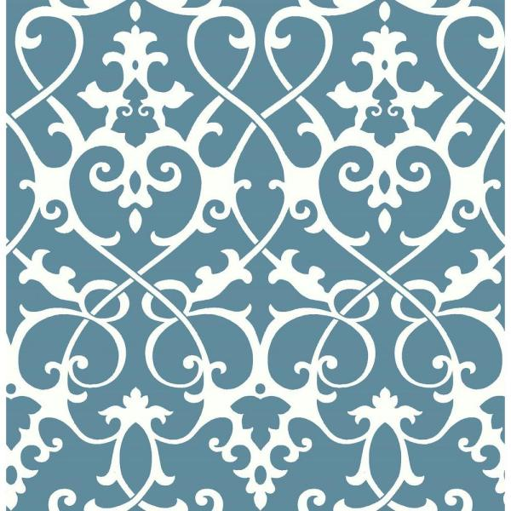 A-Street Axiom Blue Ironwork Wallpaper Sample 2625-21865SAM