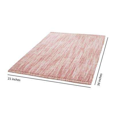 Taylor Reversible Cotton Slub 21 in. x 34 in. Bath Rug in Blush