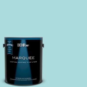 1 gal. #M460-2 Beachside Drive Satin Enamel Exterior Paint and Primer in One