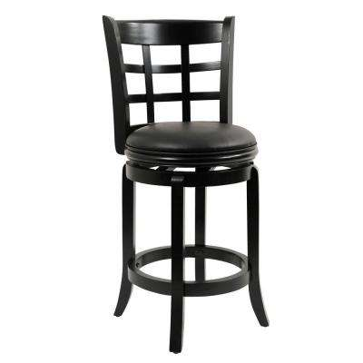 Kyoto 24 in. Black Swivel Cushioned Bar Stool