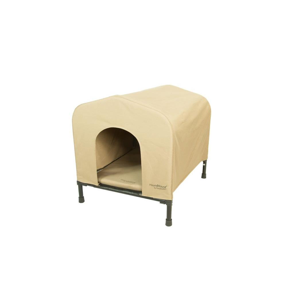 24.5 in. D x 23 in. W x 24 in. H HoundHouse Khaki Medium Portable Dog House