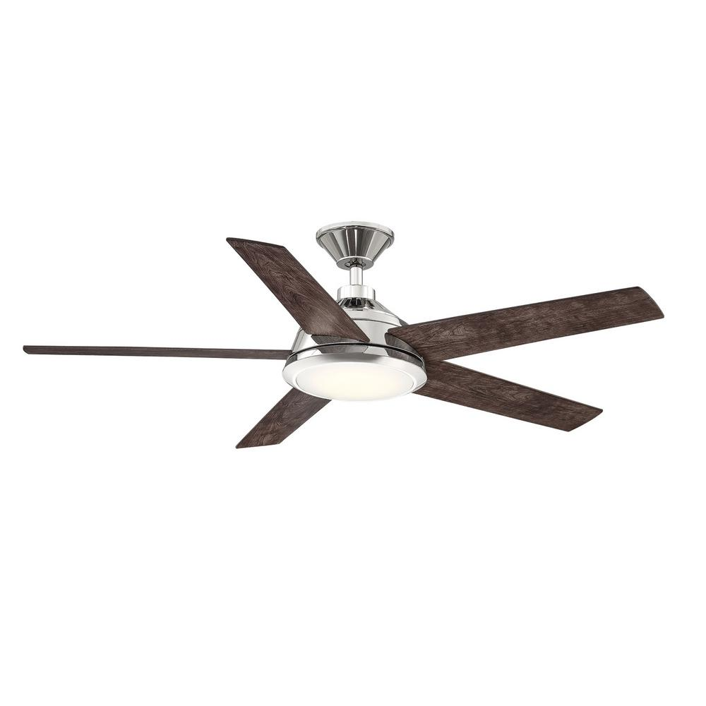 Home Decorators Collection Haverbrook 52 in. LED Polished Nickel Ceiling Fan with Light