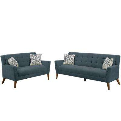 Brindisi 2-Piece Ash Black Sofa Set