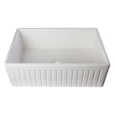 Fluted Farmhouse Apron Fireclay 30 in. Single Basin Kitchen Sink in White
