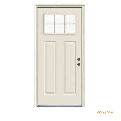 32 in. x 80 in. 6 Lite Craftsman Primed Steel Prehung Left-Hand Inswing Front Door w/Brickmould