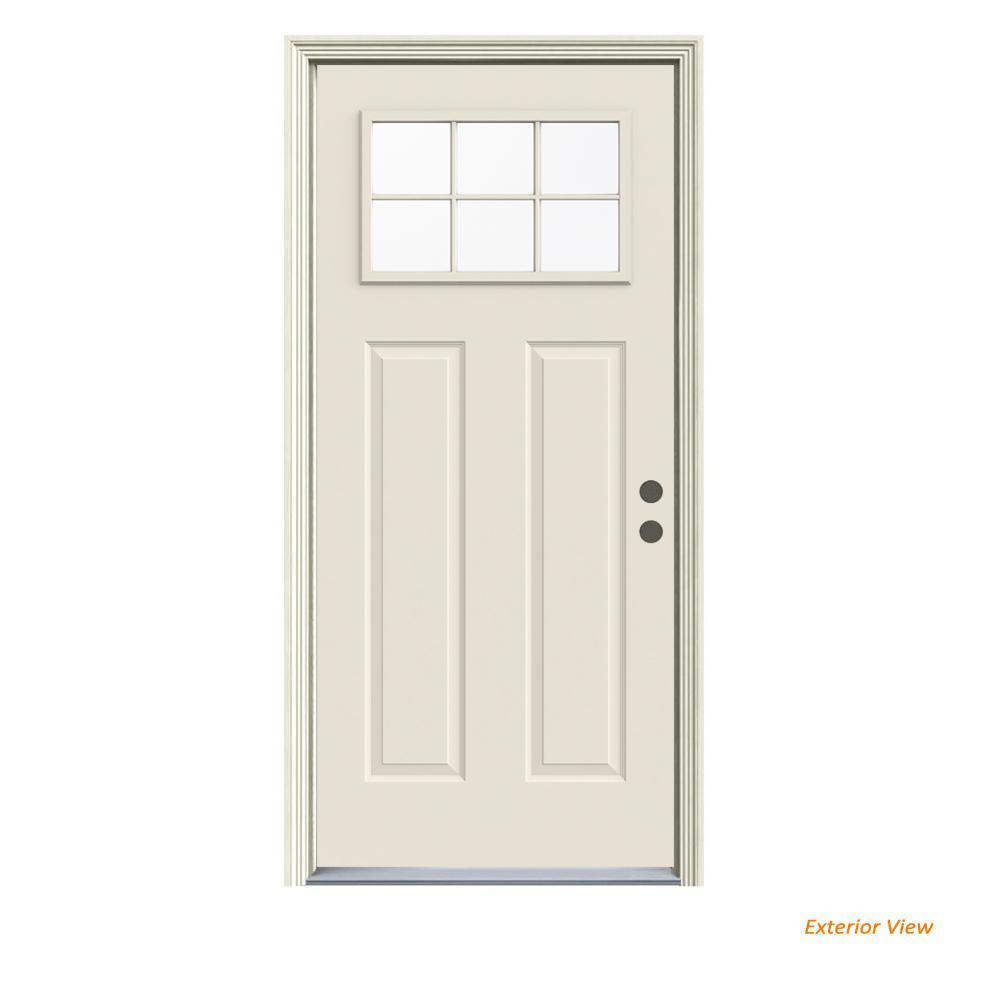 JELD-WEN 36 in. x 80 in. Primed Left-Hand Inswing 6 Lite Clear Steel Prehung Front Door