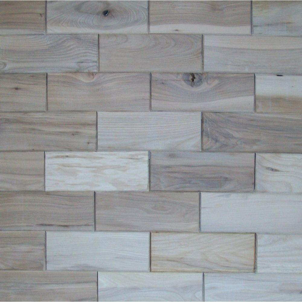 Rustix Woodbrix 3 in. x 8 in. Prefinished Hickory Wooden Wall Tile
