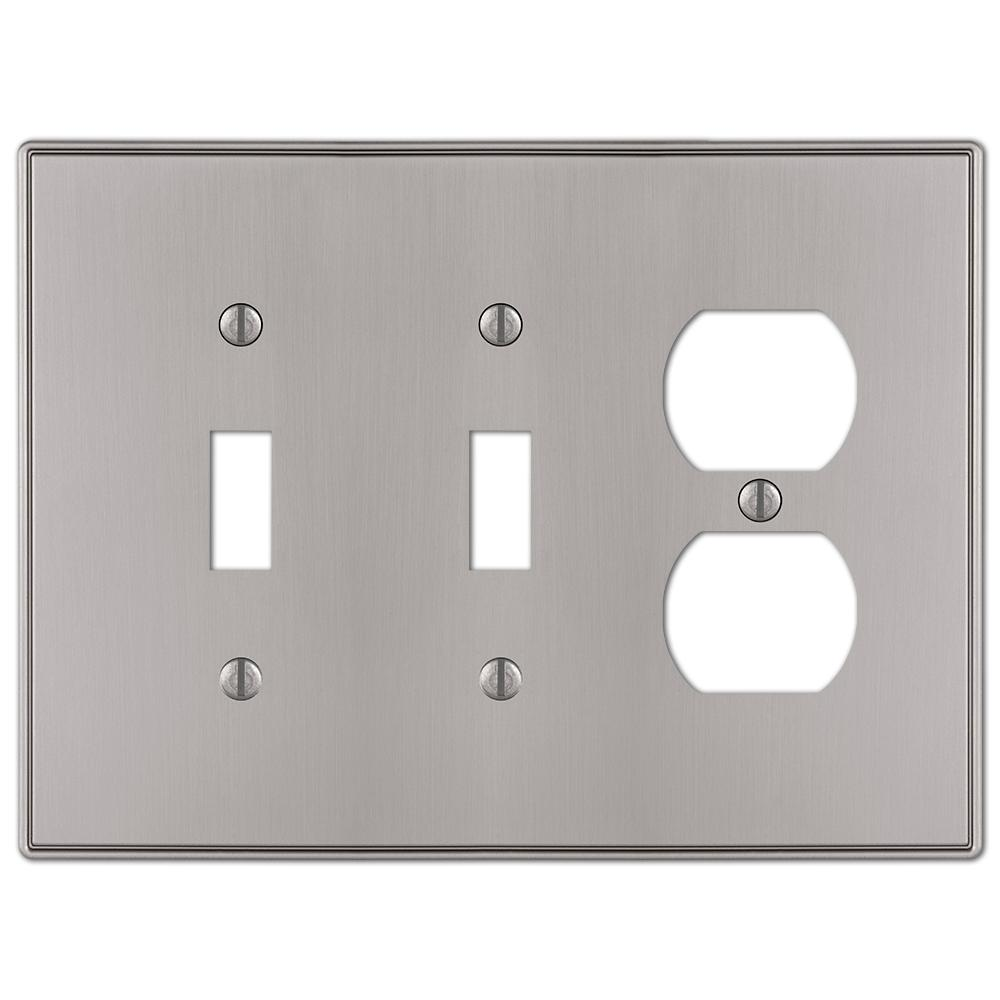 AMERELLE Ansley 3 Gang 2-Toggle and 1-Duplex Metal Wall Plate - Brushed Nickel