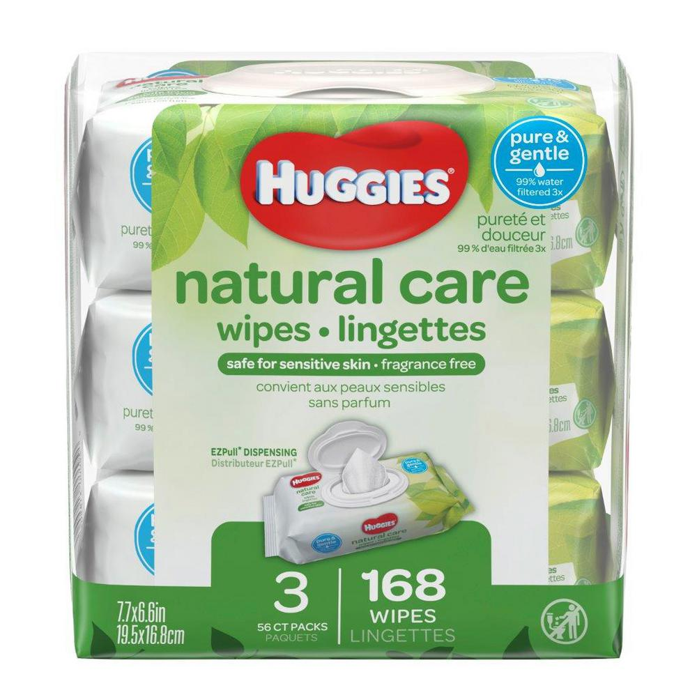 Huggies Natural Care Fragrance Free Baby Wipes 3 Pack 56