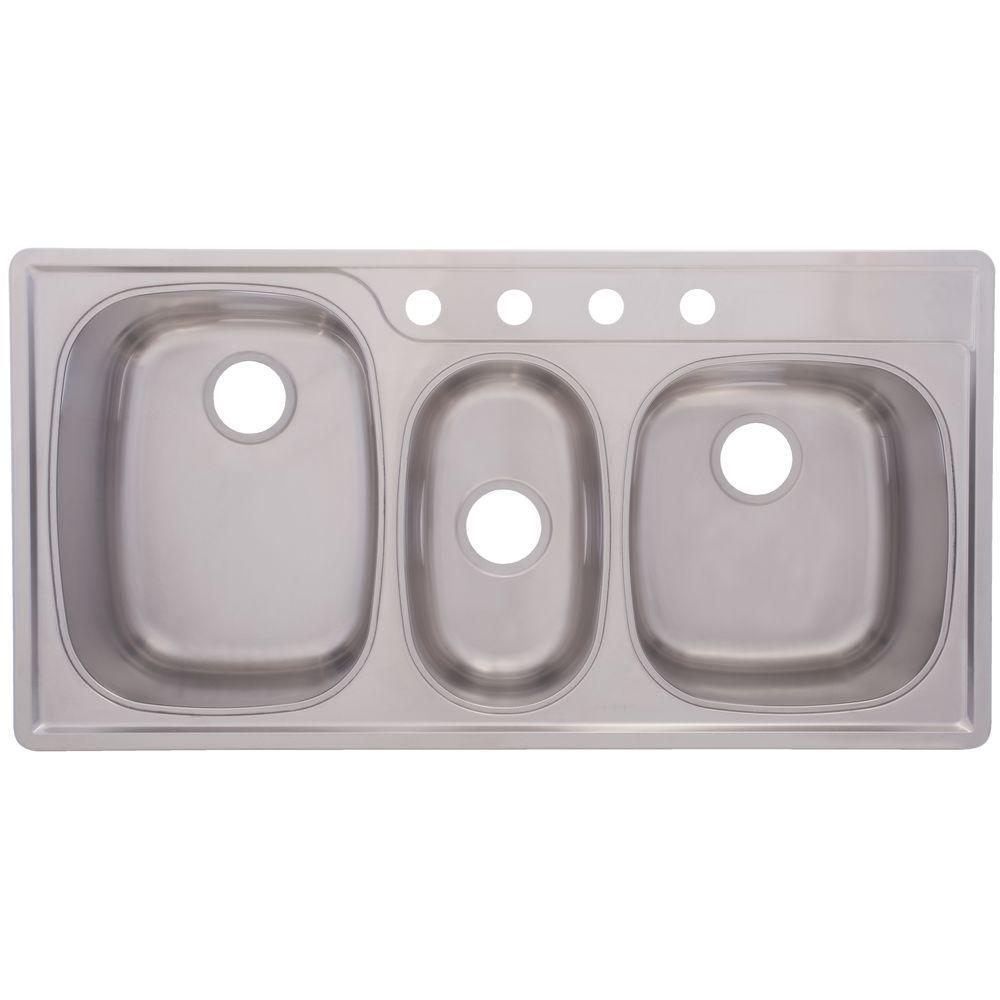 FrankeUSA Drop-In Stainless Steel 43x22x9.5 4-Hole 18-Gauge Triple Basin Kitchen Sink