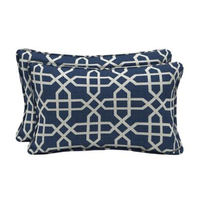 Sunbrella Bevel Indigo Lumbar Outdoor Throw Pillow (2-Pack)