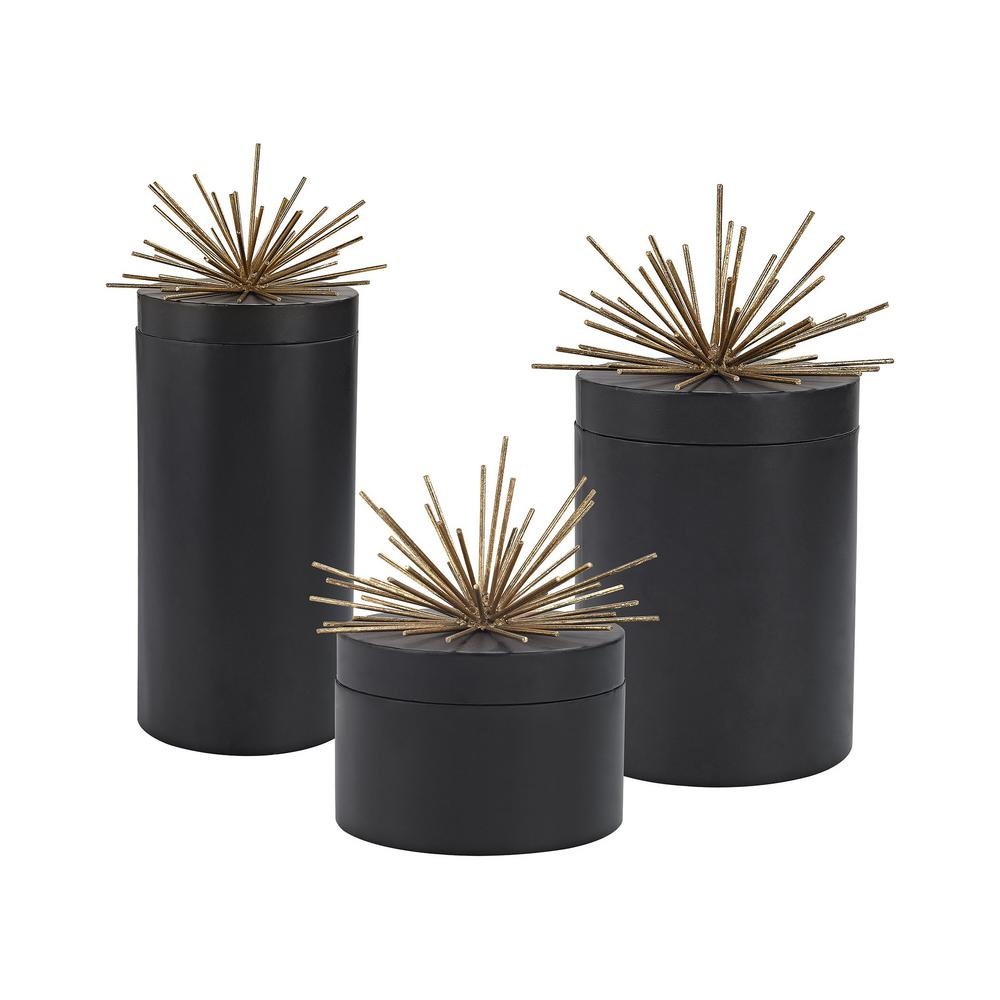 Titan Lighting 16 in., 12 in. and 8 in. Metal Decorative Jars in Black and Gold (Set of 3)