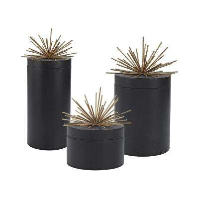 16 in., 12 in. and 8 in. Metal Decorative Jars in Black and Gold (Set of 3)