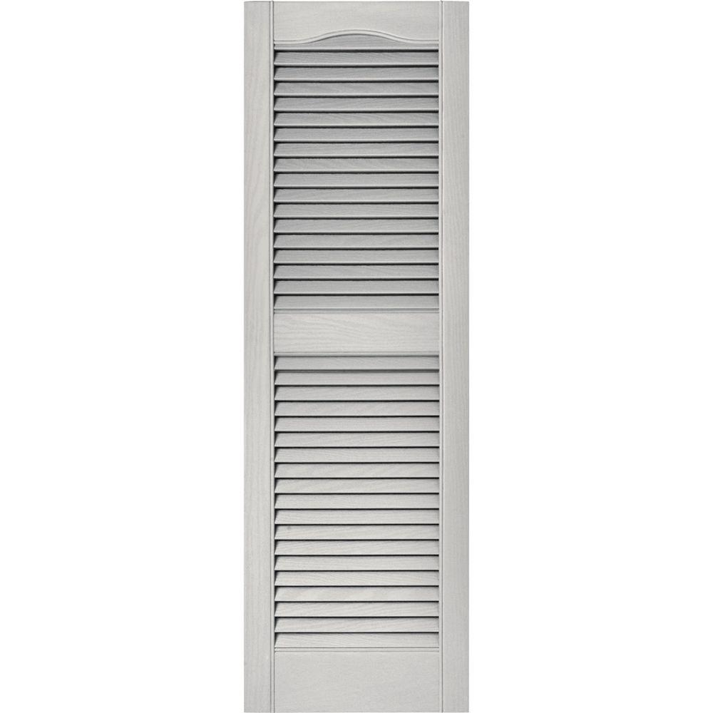 Builders Edge 15 In X 48 In Louvered Vinyl Exterior Shutters Pair In 030 Paintable