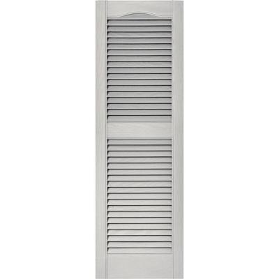 15 in. x 48 in. Louvered Vinyl Exterior Shutters Pair in #030 Paintable
