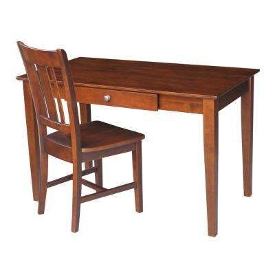 Solid Wood Espresso Desk and Chair Set
