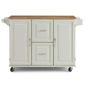 Dolly Madison White Kitchen Cart with Natural Wood Top