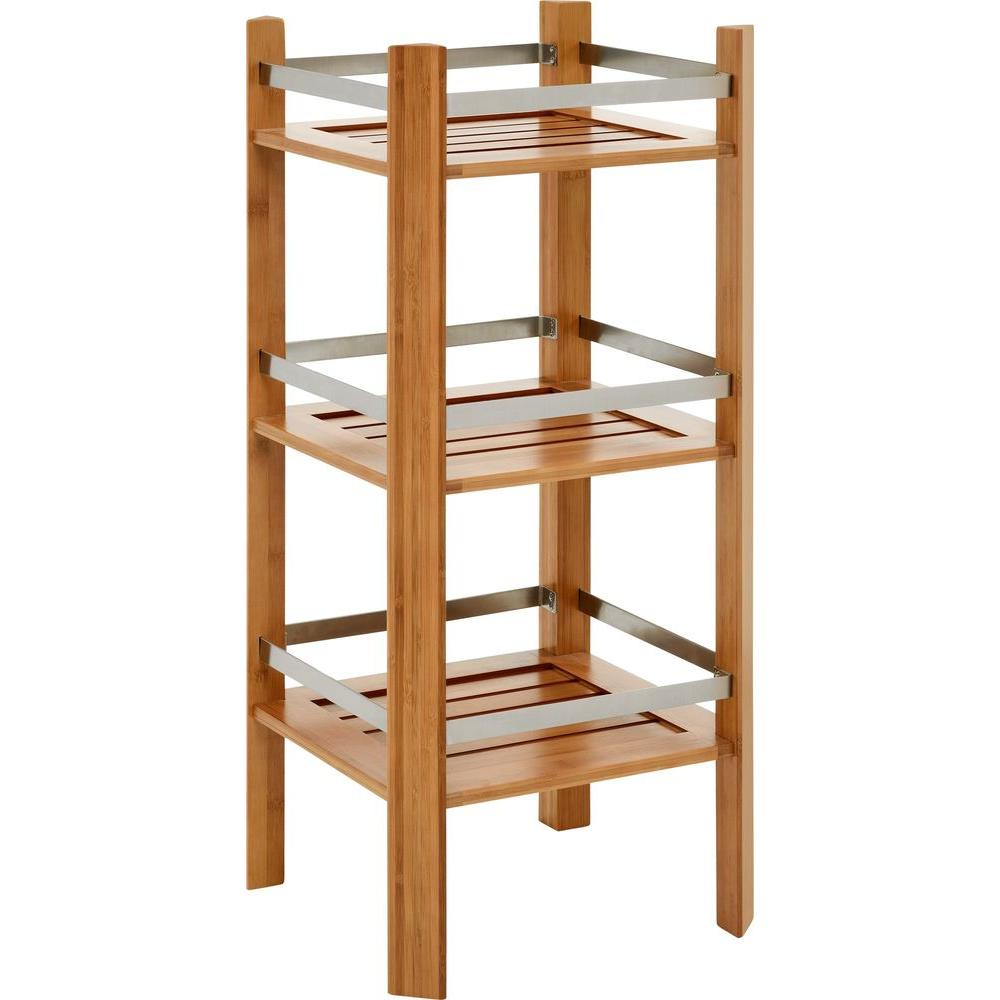 Altra Furniture Bamboo Bathroom Tower with 3-Shelves in Cherry