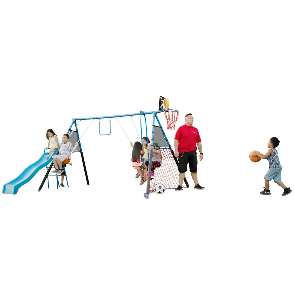 7 Station Sports Series Metal Swing Set with Basketball and Soccer