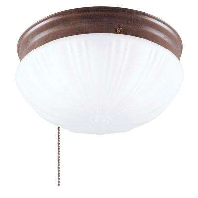 2-Light Ceiling Fixture Sienna Interior Flush-Mount with Pull Chain and Frosted Fluted Glass