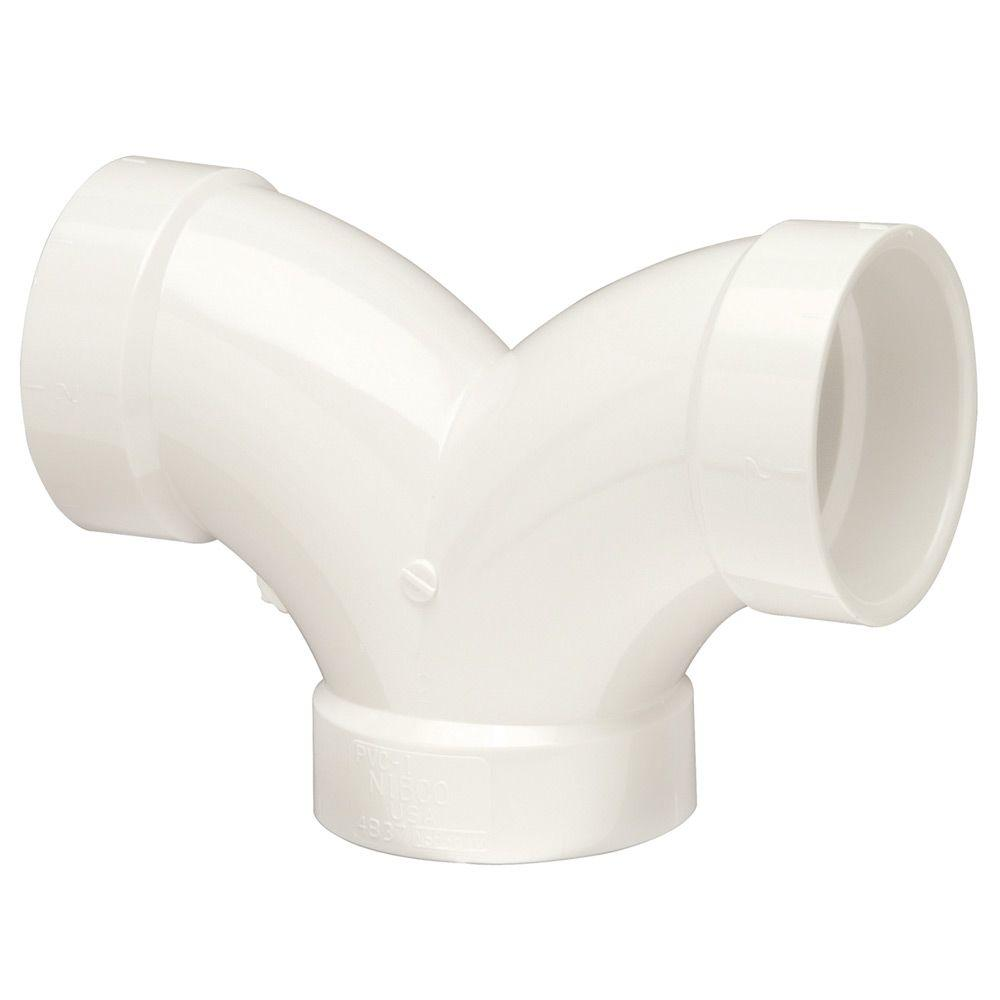 null 2 in. x 1-1/2 in. x 1-1/2 in. PVC DWV 90-Degree H x H x H Double Elbow