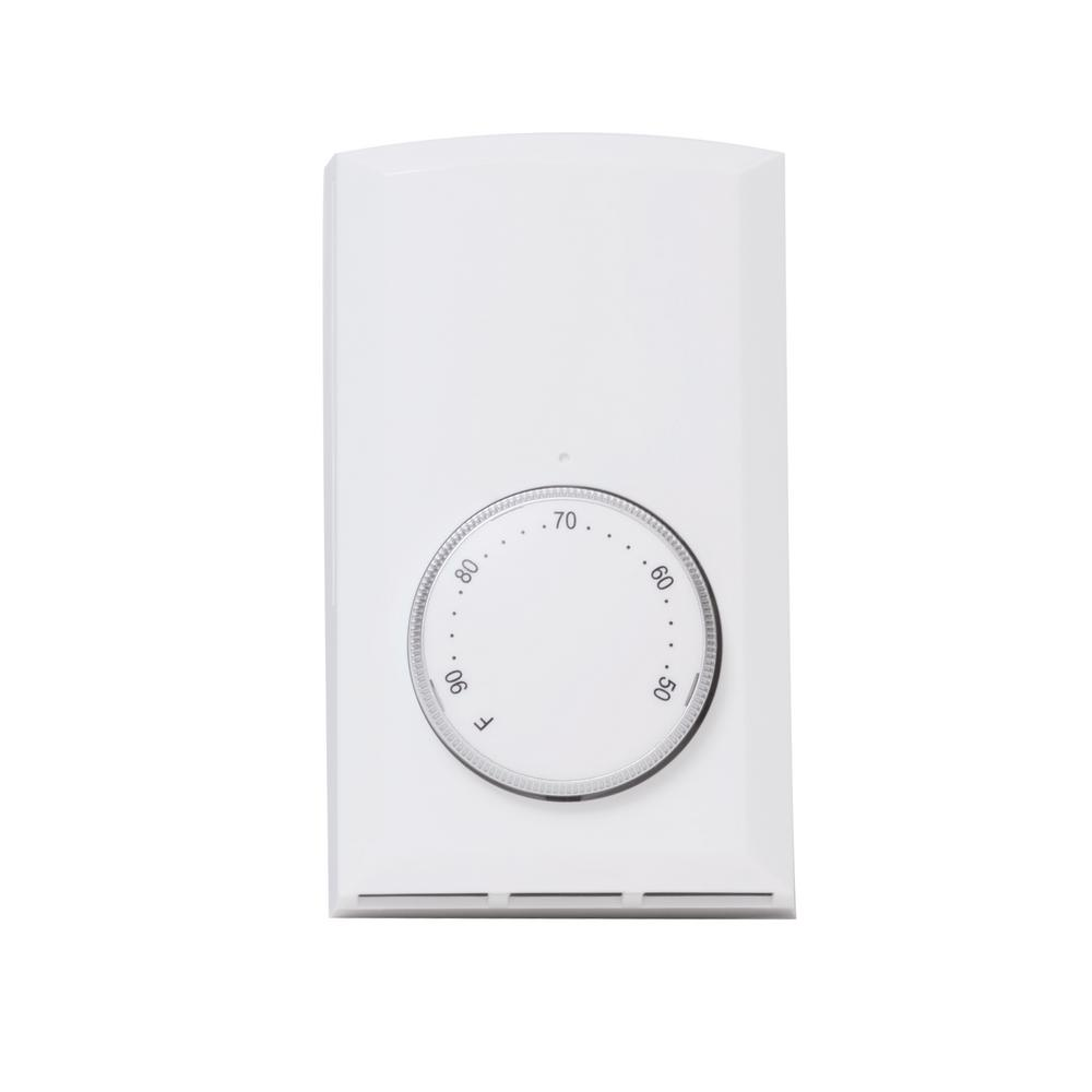 Cadet Mechanical Single-Pole 22 Amp Wall Thermostat in White on
