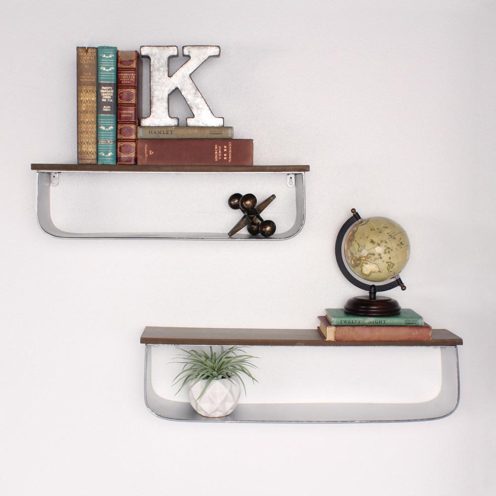 Thatcham 7 in. x 25 in. x 5 in. Silver Metal Decorative Wall Shelf