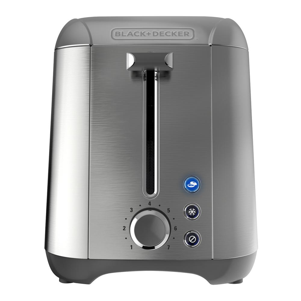 Black Decker Rapid Toast 2 Slice Stainless Steel Wide Slot Toaster Tr3500sd The Home Depot