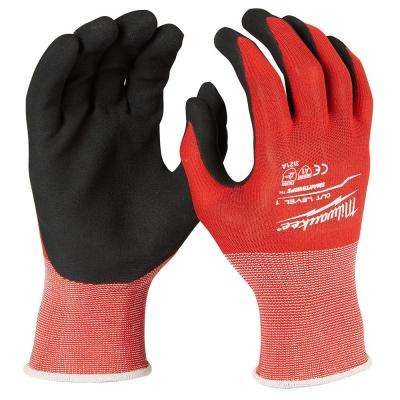 Large Red Nitrile Dipped Cut 1 Resistant Winter Work Gloves