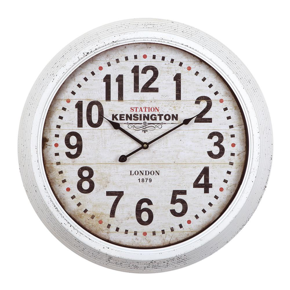Yosemite Home Decor 24 in. Circular Iron Wall Clock in Distressed White Frame
