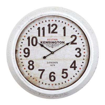 24 in. Circular Iron Wall Clock in Distressed White Frame