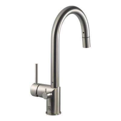 Sentinel Single-Handle Pull Down Sprayer Kitchen Faucet with Hot Water Safety Switch in Brushed Nickel